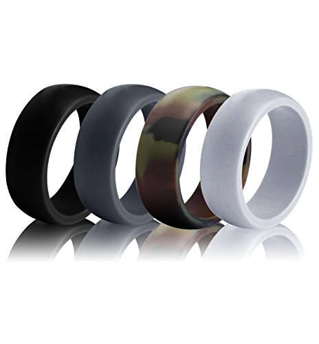 Silicone Wedding Ring for Men (Pack of 4) - Sturdily Constructed, Comfortable, Light-Weight Design – Hypoallergenic and Antibacterial Silicone Wedding Band for Active Men, Athletes by Utopia - Men Shape For Perfect