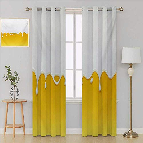 Yellow and White grommit Curtain Blackout Window Curtain Panel, Solid PatternDripping White Milk Cream Paint Yogurt on Yellow Honey Background Printcurtains 120 by 108 InchYellow White