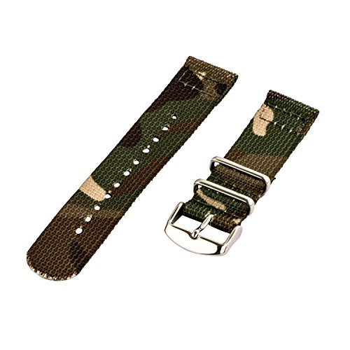 Clockwork Synergy - 2 Piece Classic NATO SS Nylon Band (20mm, Army CAMO)