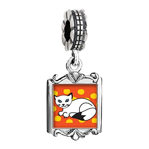 Silver Plated Balinese Cat Photo Family Mom & Baby Girl & Dad Dangle Bead Charm Bracelet Balinese Bead Bracelet