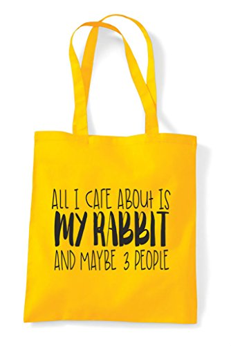 Care About Cute Is And Bag I Animal Three Rabbit Maybe Funny Tote Yellow My All People Themed Shopper f5q1x