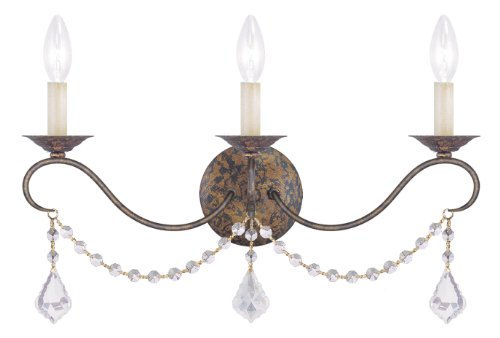 Livex Lighting 6458-71 Chesterfield 3 Light Wall Sconce, Hand Applied Venetian Golden Bronze