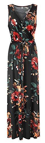 POKWAI Women Bohemian Printed Wrap Sleeveless Crossover Maxi Dress Casual Long Dress Beach Dress (Brown - Printed Wrap