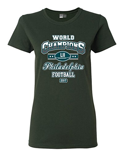 Ladies World Champion Philadelphia Football DT T-Shirt Tee (Large, Forest Green) (Best Philadelphia Eagles Players)