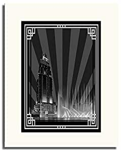 Address Hotel Down Town- Black And White With Silver Border No Text F05-m (a5) - Framed