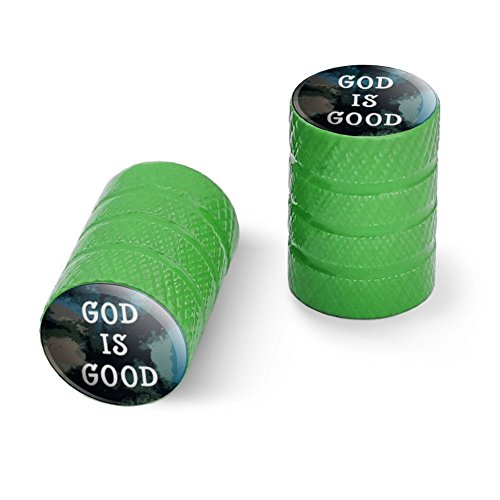 神は良いキリスト教の霊感的な宗教ですオートバイ自転車バイクタイヤリムホイールアルミバルブステムキャップ - グリーン