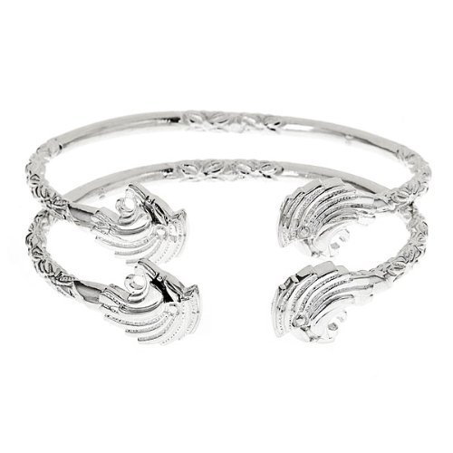 Lion .925 Sterling Silver West Indian Bangles (Pair 56.4g) (MADE IN USA)