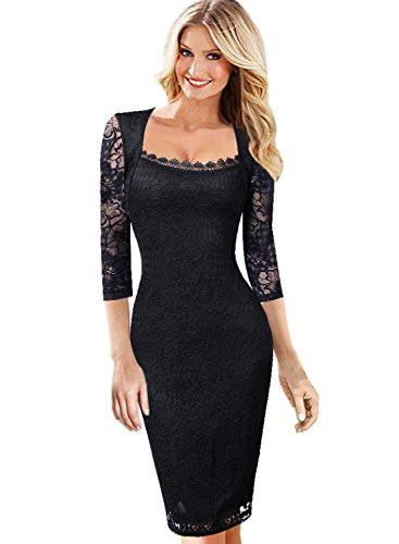 Square Neckline Dress - VfEmage Womens Elegant Square Neck Floral Lace Cocktail Party Sheath Dress 9303 BLK 20