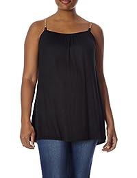Womens Plus Size Fashion Tank: Sleeveless Top, Chain...
