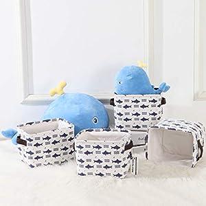 Sea Team Collapsible Square Mini Size Canvas Fabric Storage Bins Shelf Baskets Organizers for Nursery Kids Room, Set of 4 (Shark)