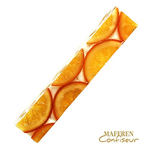 Soft White Nougat Candy Bar with Candied Orange Slices and Almonds | Handcrafted in France by Maffren | 100 Gram ()