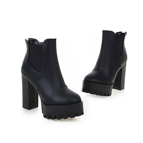 AdeeSu Girls Elastic Band Platform Chunky Heels Imitated Leather Boots Black RJfiGJgCI