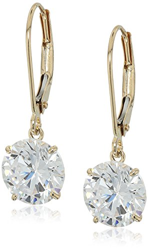 14k Leverback Dangle Earrings (14k Yellow Gold Cubic Zirconia Lever-Back Dangle Earrings)