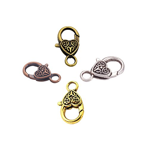 Kissitty 40-Piece 4 Colors Tibetan Antique Large Heart Lobster Clasps Lead Free & Cadmium Free 1x0.55 inch (25.5x14mm) Jewelry Making Findings (Clasps Lobster 14 Mm)