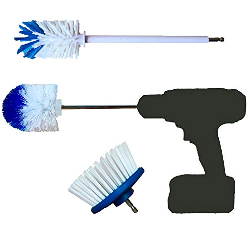 RotoScrub 3 Drill Brush Automotive Combo Kit - includes Drill Powered Scrub Brush + Extended Reach Drill Brush + Super Extended Long Reach Drill Brush
