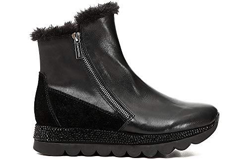 Noir Cafè Bottes Sneakers Avec Cuir Jdb132 Nero Fourrure Zippé aqWOAqF4