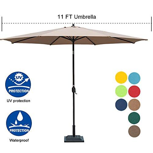 Sundale Outdoor 11 ft Aluminum Patio Umbrella Table Market Umbrella with Crank and Push Button Tilt for Graden, Deck, Backyard, Pool, 8 Steel Ribs, Polyester Canopy (Tan)