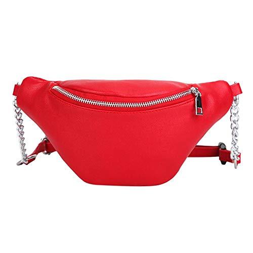 Señoras Rojo Cuero Bolsillo Las De Pu Cintura Correa La Widewinguk Hombro Cintura Bolso Cremallera Con El PdqwxZ4n0