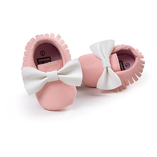 ESHOO Lovely Toddler Bebé Bowknots borla mocasín antideslizante zapatos Prewalker negro Black+Gold Talla:6-12 meses Pink+White