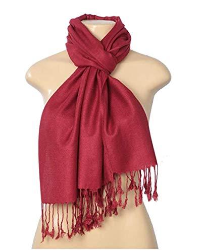 Womens Silk Blend - Fashion Scarf Women's Elegant Pashmina Silk Blend Soft Wrap Scarf Shawl, Burgundy, 26