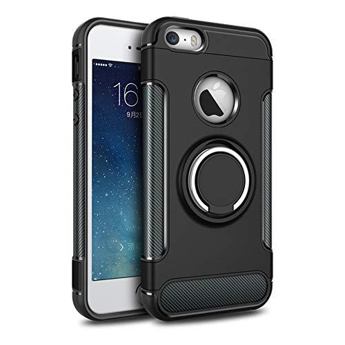 4e56c9ce9a6 Carcasa de Doble Capa para iPhone 5 y 5S SE, Soporte Giratorio de  protección Completa