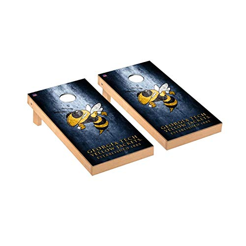 Victory Tailgate Regulation Collegiate NCAA Museum Series Cornhole Board Set - 2 Boards, 8 Bags - Georgia Tech Yellow Jackets