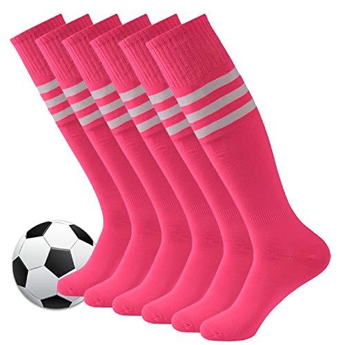 Pink Soccer Socks,Fasoar Mens Womens Long Tube Knee High Team Sports Football Socks 6 Pack Rose Pink White Stripe