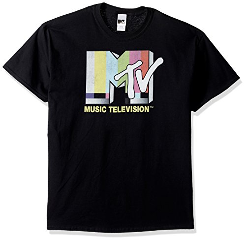80s Mens Fashion (MTV Men's Retro Logo T-Shirt, Black, 2XL)