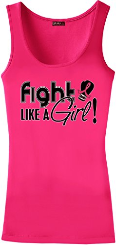 Fight Like a Girl Signature Breast Cancer Ladies Tri-Blend Stretch Tank Top - Hot Pink [M]