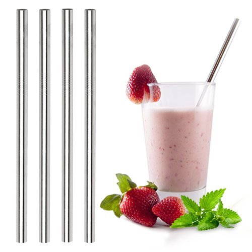 (Ecofriendly Stainless Steel Smoothie Straws - WIDE for Thick Shakes - Metal drinking straw | Reusable, eco-friendly | Free Cleaning Brush | Dishwasher Safe | 4 pack | (9.5mm Straight))