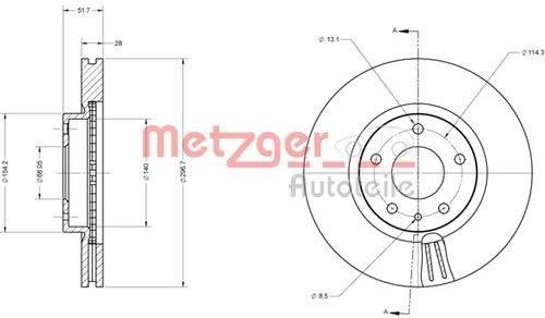Bremsbel/äge Set Vorne Metzger Bremsscheiben /ø297mm