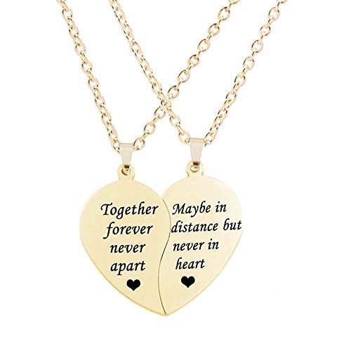 Friends Forever Heart - MJartoria BFF Necklace for 2-Split Valentine Heart Together Forever Never Apart Best Friends Pendant Friendship Necklace Set of 2 Inspirational Gift (Distance-Gold)