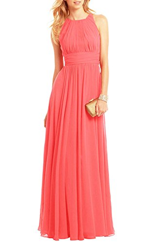 (Bridesmaid Maxi Dresses Long for Women Formal Evening Party Prom Gown Coral US18W)