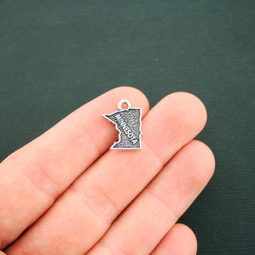4 Minnesota State Map Charms Antique Silver Tone 2 Sided - SC6340 DIY Jewelry Making Supply for Charm Pendant Bracelet by Charm Crazy