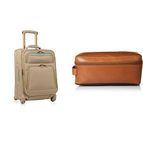 Tommy Bahama Softside Carry On Luggage with Leather Travel Kit Toiletry Bag, Champagne/Light Blue