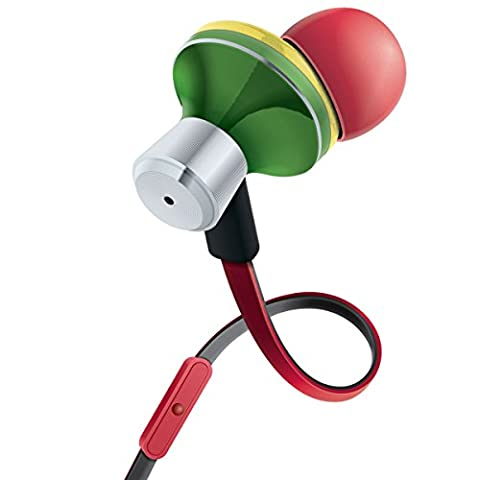 GOgroove Rasta In-Ear Earbud Headphones with Hands-Free Calling Microphone , Tangle Free Cord and Noise Isolation - In Line Controls for Music & Calls & 4 sets of Gel Ears for Custom (Sparkly Girls Ipod 4 Cases)