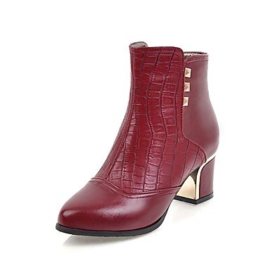 5 Negro Botines Talón Otoño Vestimenta 5 RTRY Botines 5 Chunky UK4 Casual Rojo Botas Invierno Mujer US6 De EU37 Para Polipiel Toe 7 Zapatos Señaló Y Botas Moda Hebilla CN37 OOw1pv