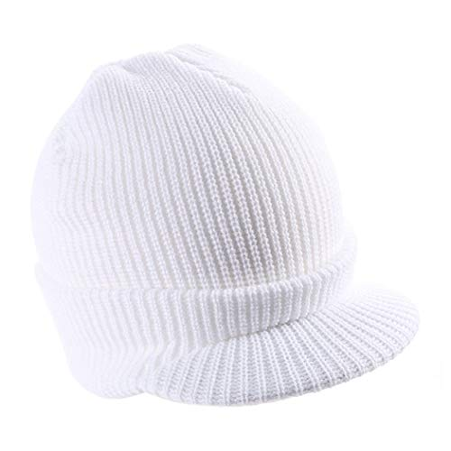 (Mens Knit Campus Jeep Radar Hat Knit Cap Visor Hats Billed Beanie Ski Caps with Brim)