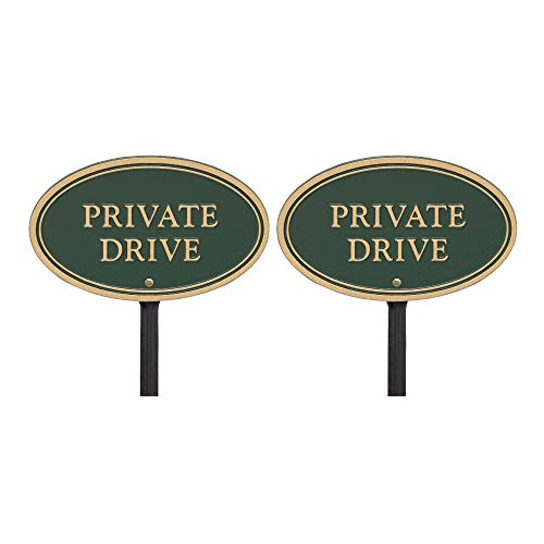(Whitehall Products Private Drive Oval Wall/Lawn Statement Plaque Green/Gold, 10x6 (2 Pack))