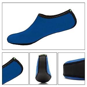WONZOM FASHION Women Barefoot Water Skin Shoes Quick-Dry Aqua Socks For Beach Pool Swim Dive Surf Yoga-XXL(Blue)
