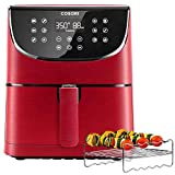 COSORI Air Fryer(100 Recipes, Rack and 4 Skewers),3.7QT Electric Hot Air Fryers Oven Oilless Cooker, Preheat and Shake Reminder, LED Touch Screen, Nonstick Basket,2-Yr Warranty,1500W,Red (Renewed) Larger Image