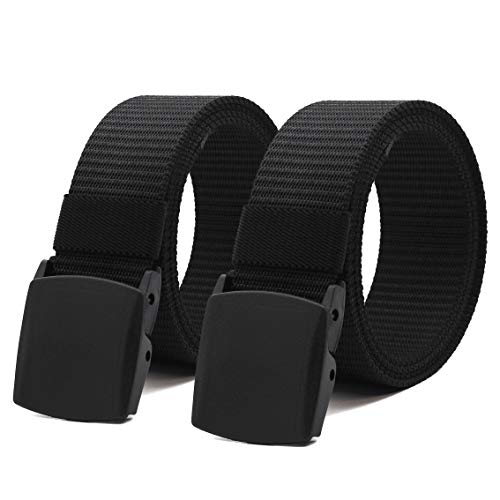 Nylon Canvas Belt Hiking Outdoor Adjustable Belts Unisex Military Style Casual Army Outdoor Tactical Plastic Buckles Webbing for Men and Women 2 pack By ANDY GRADE (Black + Black)