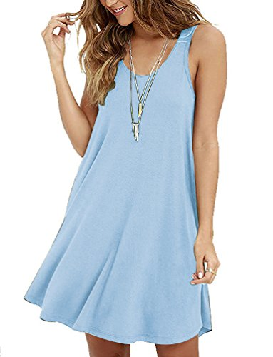 POSESHE Women's Tunic Swing T-Shirt Dress Sleeveless Dress Light Blue S