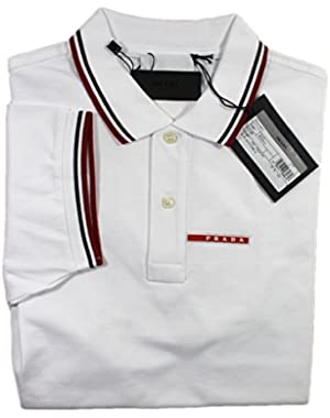 Men's Cotton Piqué Short Sleeve Slim Fit Polo Shirt, White SJJ887