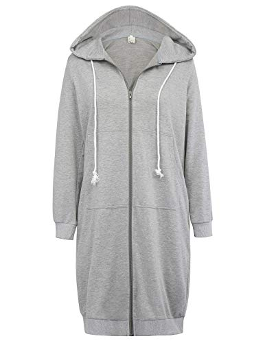 (GRACE KARIN Fashion Zip up Pocket Hoodies Sweatshirt Jacket Grey Size XL CL612-2)