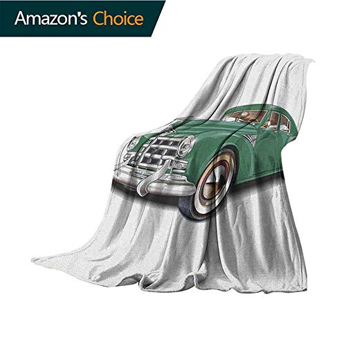 Manly Mattress Blanket,Antique Automotive Old Model Nostalgia Historic Symbol Retro Car Illustration Lightweight Extra Soft Skin Fabric,Not Allergic,30