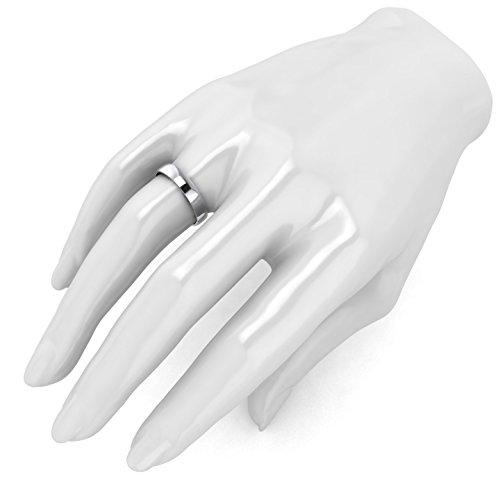 Unisex 14k White Gold 4mm Light Court Shape Comfort Fit Polished Wedding Ring Plain Band (12) by LANDA JEWEL (Image #3)