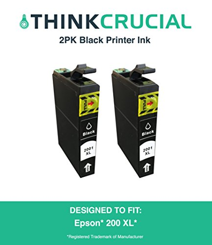 2 Replacement Black Toner Ink Cartridges Fit Epson  XL, XP-, XP-300, XP-310, XP-400 WorkForce WF-2010F, WF-2010W, WF-2510WF, WF-2520, WF-2520NF, Part # TXL120, by - Think Crucial 200