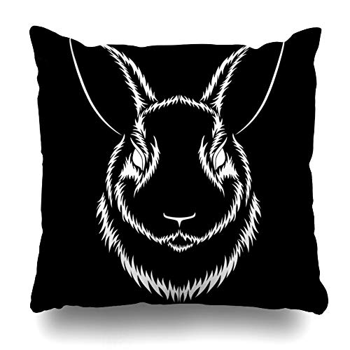 Cover Emblem White Hare On Blac Black Drawing Ears Design Decorative Pillow Case Home Decor Square Size 18x18 Inches Pillowcase ()