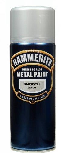 Hammerite Aerosol (Hammerite Direct to Rust Metal Paint Aerosol Smooth Silver Finish 400ML by Hammerite)